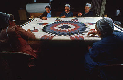 Amish And Mennonite Women Quilt Art Print