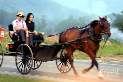 Amish Boy And Girl In Buggy Original by Randy Matthews