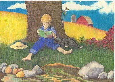 Amish Drawing - Amish Boy by April Mains
