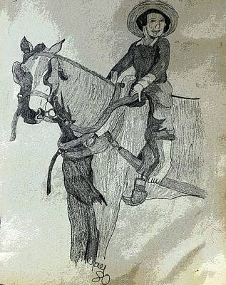 Drawing - Amish Boy On A Horse by Joyce Wasser
