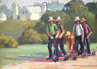Scooter Painting - Amish Boys by Len Stomski