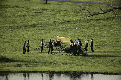 Volleyball Photograph - Amish Buggies Anchor A Volleyball Net by Ira Block