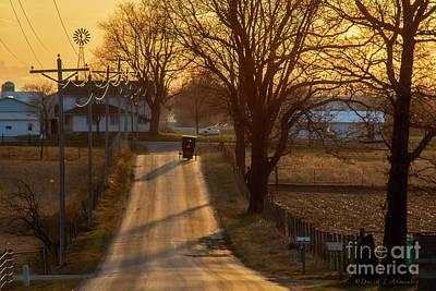 Photograph - Amish Buggies At Dusk by David Arment