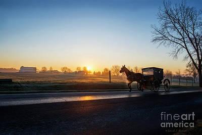 Photograph - Amish Buggy At Dawn December by David Arment