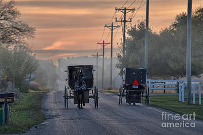 Amish Photograph - Amish Buggy Sunday Morning by David Arment
