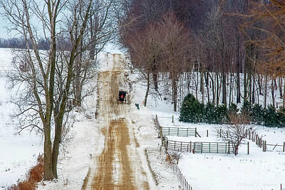Photograph - Amish Buggy Up The Hill Two by David Arment