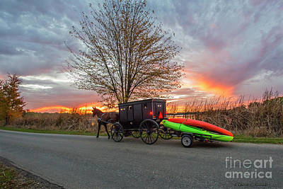 Photograph - Amish Buggy With Kayaks At Sunset by David Arment