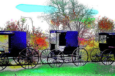 Amish Farms Mixed Media - Amish by Charles Shoup