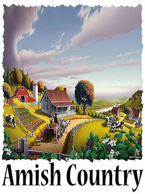 Old Dutch Painting - Amish Country - Appalachian Blackberry Patch Country Farm Landscape 2 by Walt Curlee