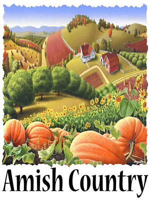 Tn Barn Painting - Amish Country - Pumpkin Patch Country Farm Landscape by Walt Curlee