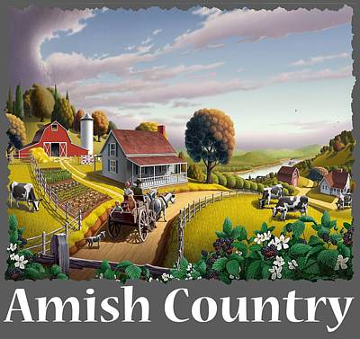 Redlin Painting - Amish Country T Shirt - Appalachian Blackberry Patch Country Farm Landscape by Walt Curlee