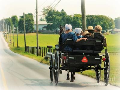 Amish Family Photograph - Amish Family Travelling With Horse And Buggy by Beth Ferris Sale