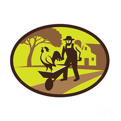 Amish Farms Digital Art - Amish Farmer Rooster Wheelbarrow Farm Oval Retro by Aloysius Patrimonio
