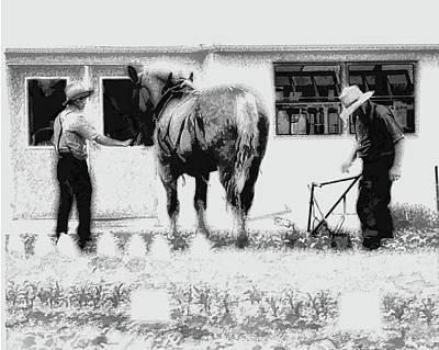 Amish Farms Digital Art - Amish Farming Black And White by John Feiser
