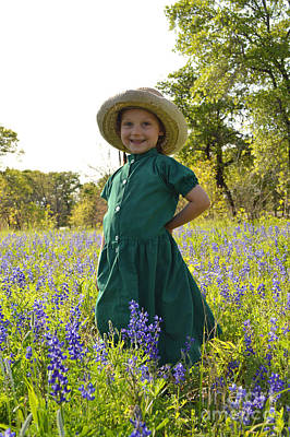 Photograph - Amish Girl And Blue Bonnets I by Carolina Liechtenstein