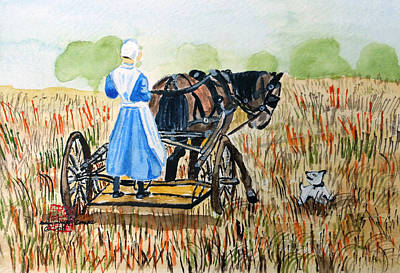 Watercolor Painting - Amish Girl With Buggy by Arlene  Wright-Correll