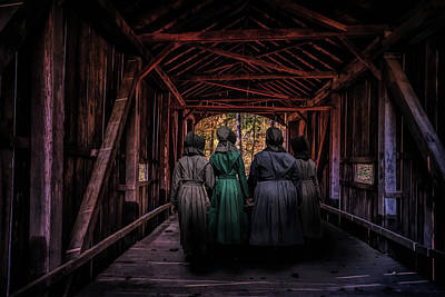 Amish Girls In Covered Bridge Art Print