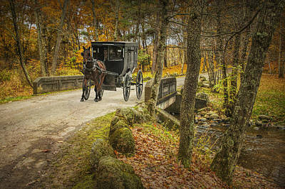 Photograph - Amish Horse And Buggy Crossing A Bridge by Randall Nyhof