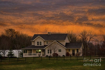 Photograph - Amish House At Sunset by David Arment
