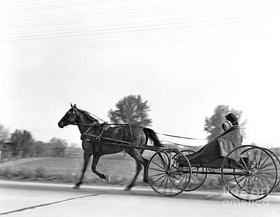 Amish In Horse-drawn Buggy, C.1930s Art Print