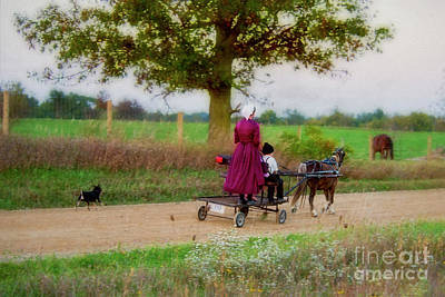 Amish Photograph - Amish Kids On Pony Cart by David Arment