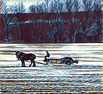 Painting - Amish Manure Wagon by Jeffrey Koss