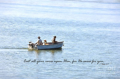 Amish Photograph - Amish On Shipshewana Lake And 1 Peter 5_7 by David Arment