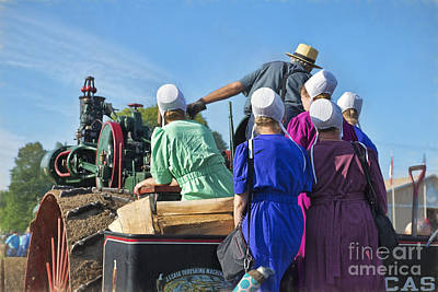 Photograph - Amish On Steam Engine by David Arment