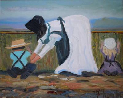 Amish Picking Peas Art Print by Francine Frank