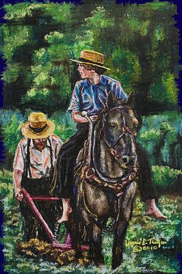 Amish Plowing Art Print