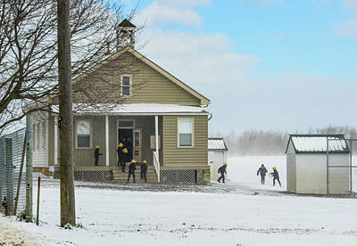 Photograph - Amish Schoolboys In Snowstorm by Tana Reiff