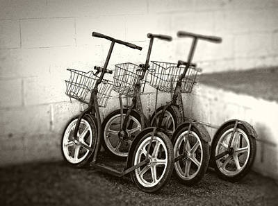 Amish Scooters In Black And White Art Print