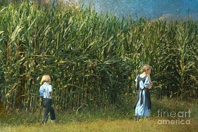 Photograph - Amish Siblings In Cornfield  by Beth Ferris Sale