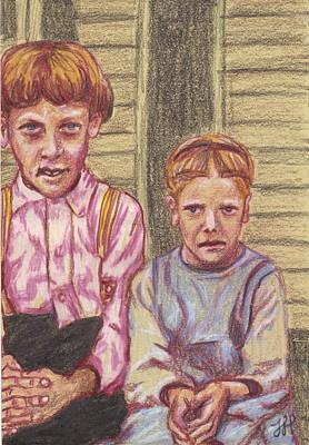 Amish Siblings Art Print by Jean Haynes