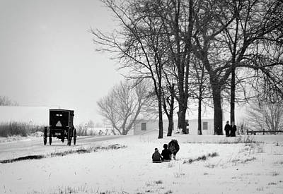 Photograph - Amish Sled Ride by David Arment