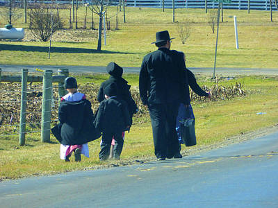 Amish Community Photograph - Amish Sunday 1 Of 5 by Tina M Wenger