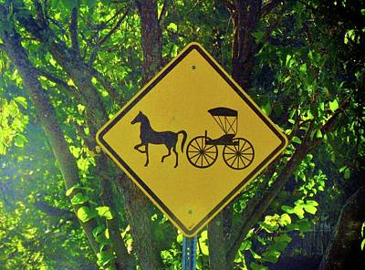 Photograph - Amish Traffic Sign by Cynthia Guinn