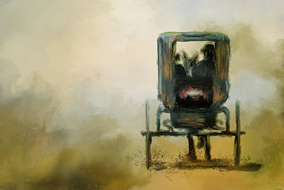 Horse And Buggy Painting - Amish Wagon by Jai Johnson