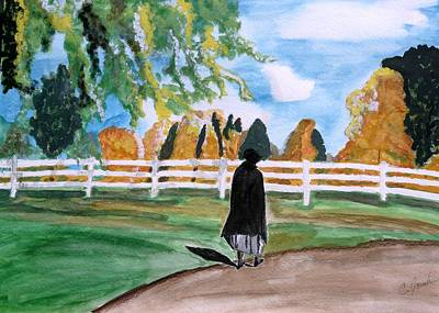 Painting - Amish Woman Walking by Cathy Jourdan