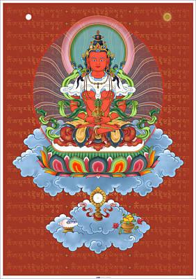 Amitayus With Mantra Print by Fred Van der Zee