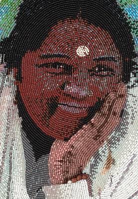 Ashram Wall Art - Glass Art - Amma - Close Up by Zoe Byrd