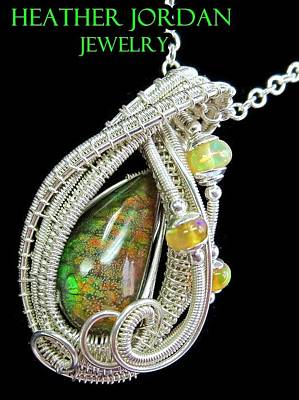 Sterling Silver Jewelry - Ammolite And Sterling Silver Wire-wrapped Pendant With Ethiopian Opals Amltpss2 by Heather Jordan