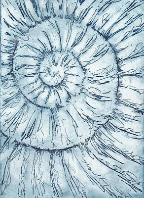 Painting - Ammonite No. 34 - 100 Ammonites Project by Lisa Le Quelenec