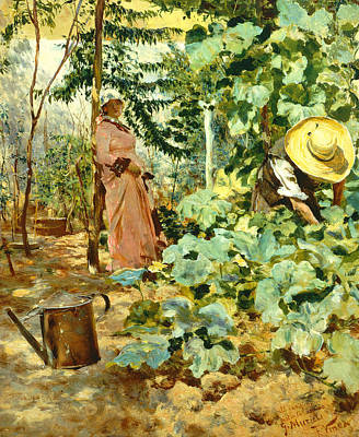 Among Pumpkin Plants Art Print by Francesco Vinea