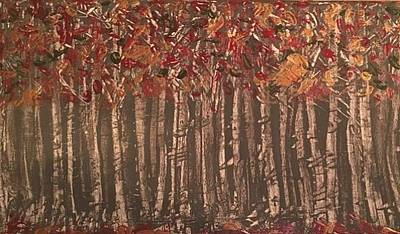 Pallet Knife Painting - Among The Birches by Heather Burningham