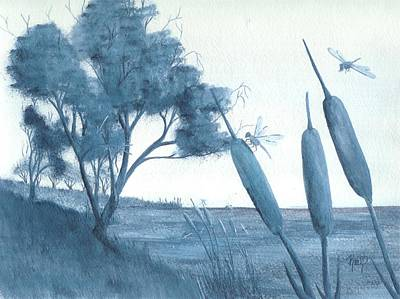 Painting - Among The Cattails... No. Four by Robert Meszaros