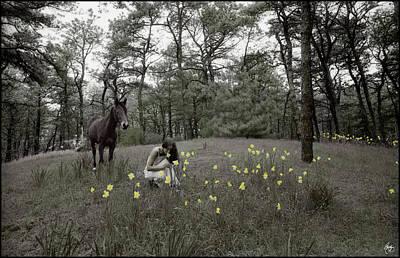 Photograph - Among The Daffodils by Wayne King