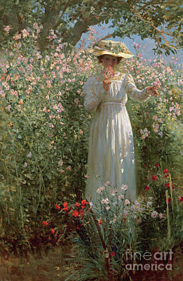 Sniffing Painting - Among The Flowers by Robert Payton Reid