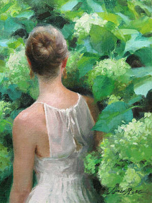 Miniatures Painting - Among The Hydrangeas Study  by Anna Rose Bain
