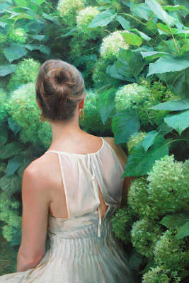 Figurative Painting - Among The Hydrangeas by Anna Rose Bain